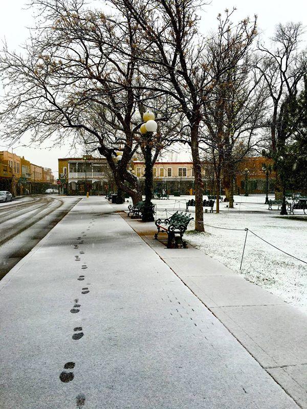 Footprints in the snow Santa Fe Saturday