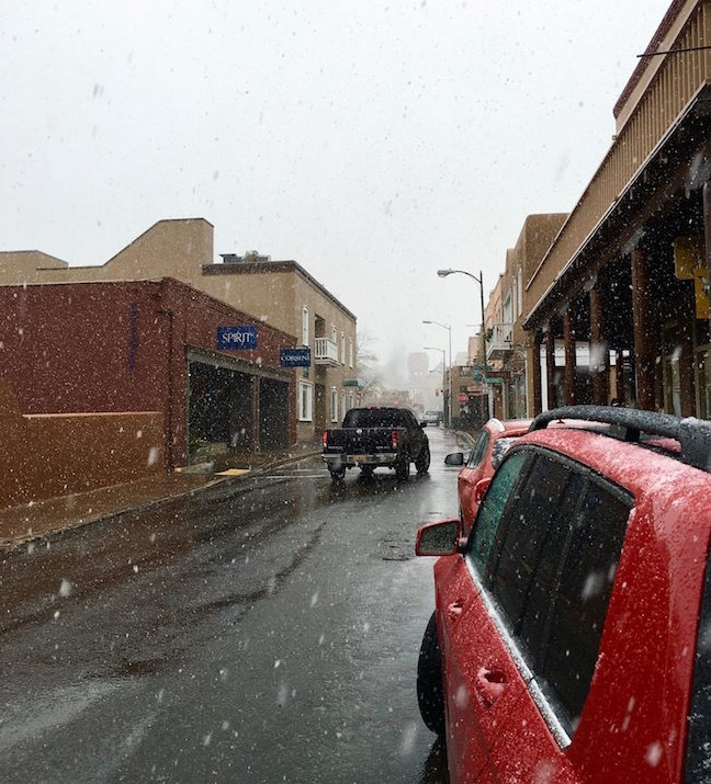 Snowing Downtown Santa fe
